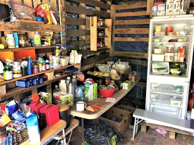 The food store at the protest camp