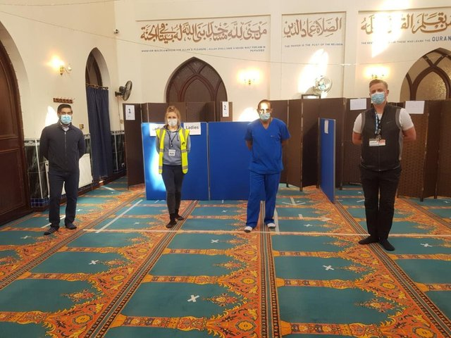 The pop up vaccination site at Aylesbury Mosque