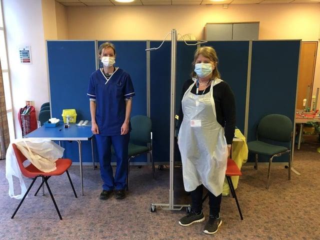 Pictured: GP Amanda Bartlett and volunteer, Nurse Averil Bird at the homeless vaccination clinic