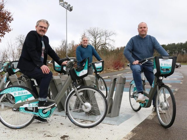 In the picture: (L to R) - Andrew Jackson, Managing Director at CycleFleet Ltd with local Stone and Waddesdon ward councillors Ashley Waite and Paul Irwin.