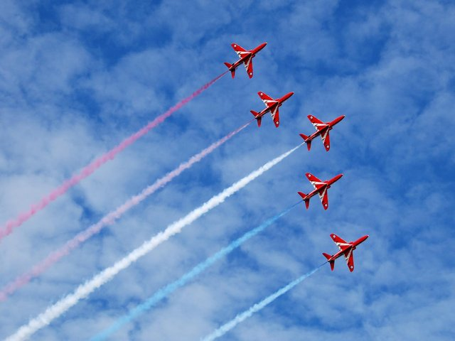 The Red Arrows fly in formation. Picture: Shutterstock