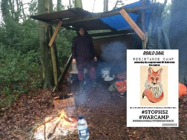 Main Picture: Anti-HS2 protester in Jones Hill Wood. Inset: Campaign poster