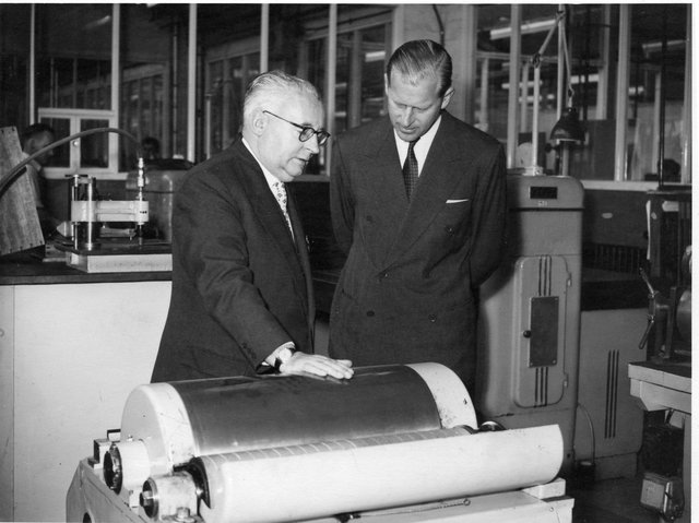 Prince Philip's visit to Hazell Watson and Viney's factory in Aylesbury in 1958