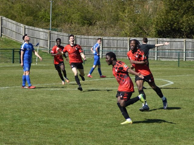 Kevin Owusu celebrates after scoring the winner for Aylesbury Vale Dynamos at Dunstable Town on Saturday  (Picture by Iain Willcocks)