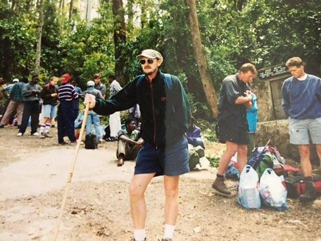Tony preparing to climb Kilimanjaro
