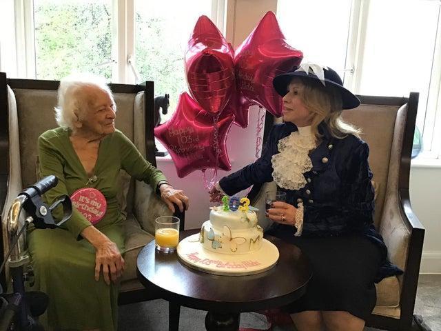 High Sheriff of Buckinghamshire Julia Upton and Hilda on her 103rd birthday