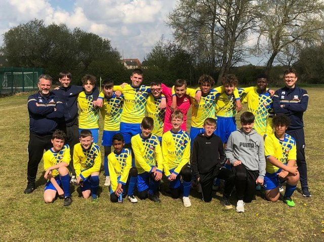 Aylesbury Vale Dynamos Colts Under 14s, managed by Andy Collins, after their win which puts them top of the table