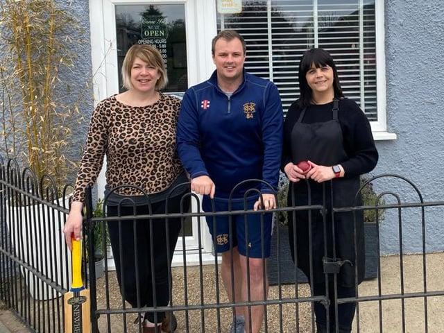 Marsh Gibbon Cricket Clubs vice-captain Joe Leonard, with Debbie Fenton and Dawn Green of new sponsors Affinity Hair Design