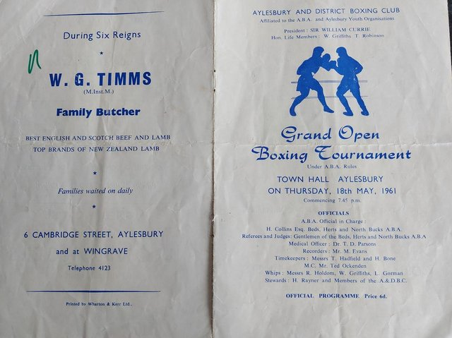 The original programme from the event provided by Graham Aldridge