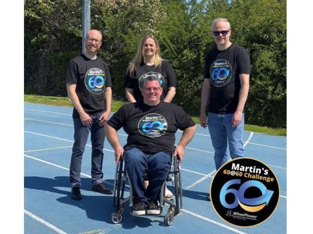 Martin and members of the WheelPower Team on the famous track at Stoke Mandeville Stadium as the 60@60 challenge begins.