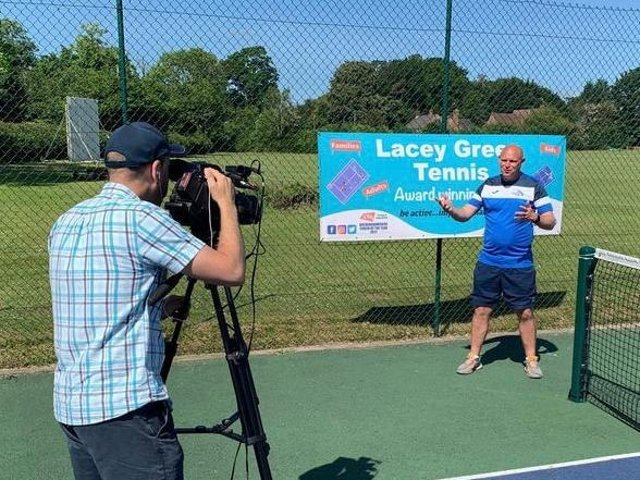 Head coach Dan Smith is interviewed by the LTA