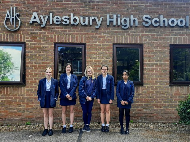 Lucy, Georgia, Lilianna, Avni and Katie from Aylesbury High School