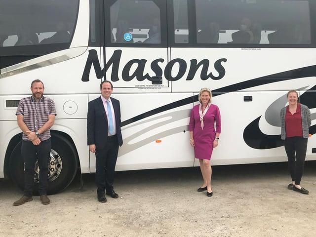 (L to R) James Mason, MP Greg Smith, Baroness Vere and Candice Mason