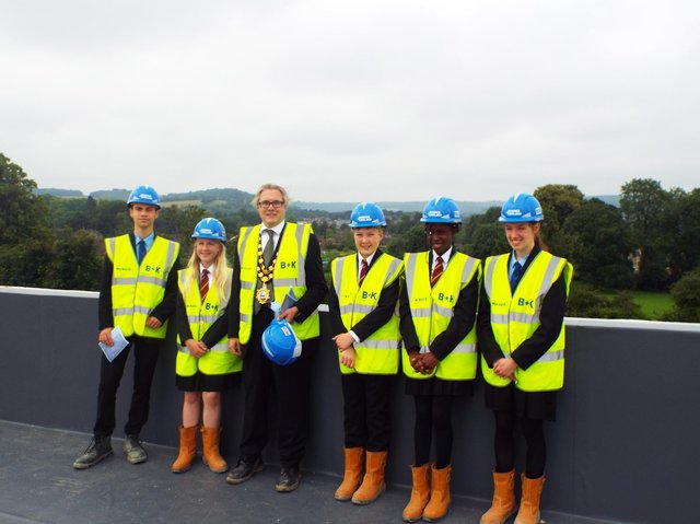 The Mayor of Tring attended a Topping Off ceremony on the roof of Tring School's £30m new build project